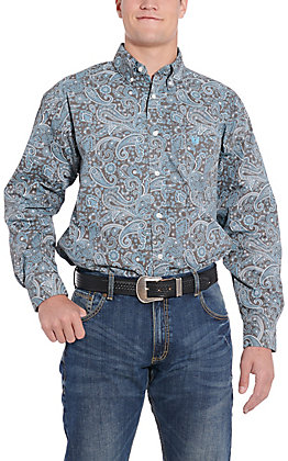 Panhandle Cavender's Exclusive Men's Grey Paisley Long Sleeve Western Shirt
