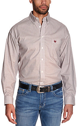 Panhandle Men's White with Grey & Burgundy Geo Print Stretch Long Sleeve Western Shirt - Cavender's Exclusive
