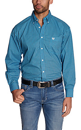 Panhandle Men's Blue with Black & White Circle Print Long Sleeve Western Shirt - Cavender's Exclusive