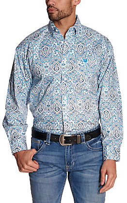 Panhandle Men's White with Turquoise Paisley Print Stretch Long Sleeve Western Shirt - Cavender's Exclusive