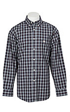 Panhandle Men's Navy, Red and White Plaid L/S Cavender's Exclusive Western Shirt
