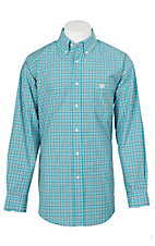 Panhandle Men's Light Blue and Brown Plaid L/S Cavender's Exclusive Western Shirt