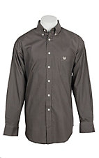 Panhandle Men's Black and Grey Grill Print L/S Cavender's Exclusive Western Shirt