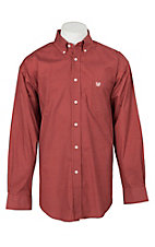 Panhandle Men's Rust Circle Dot Print L/S Cavender's Exclusive Western Shirt