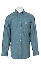 Panhandle Men's Light Blue and Brown Square Print L/S Cavender's Exclusive Western Shirt