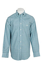 Panhandle Men's Light Blue and Grey Deallion Print L/S Cavender's Exclusive Western Shirt