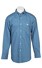 Panhandle Men's Blue Geo Print Long Sleeve Western Shirt