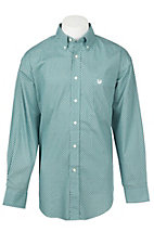Panhandle Men's Aqua Grill Print Long Sleeve Western Shirt