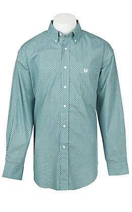 Panhandle Men's Aqua Grill Print Long Sleeve Western Shirt