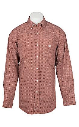 Panhandle Men's Red Geo Print Long Sleeve Western Shirt