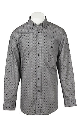 Panhandle Men's Tuf Cooper Performance Stretch Grey Circle Dot Print L/S Western Shirt