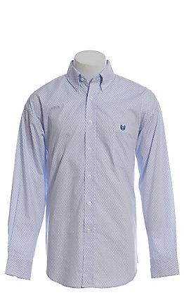 Panhandle Men's Blue Tiny Geo Print Long Sleeve Western Shirt