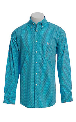 Panhandle Men's Turquoise Tiny Geo Print Long Sleeve Western Shirt