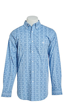 Panhandle Cavender's Exclusive Men's Aztec Paisley Long Sleeve Western Shirt