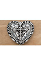 M&F Western Products Silver Heart with Crystal Cross Buckle