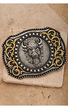 Nocona Antiqued Silver Buffalo with Gold Scrolling Rectangle Belt Buckle