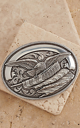 Nocona Silver Eagle with American Flag Oval Buckle 37034