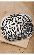 Nocona Silver Cross Rectangle Belt Buckle 3703636