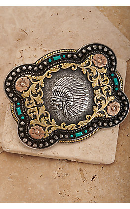 Nocona Antiqued Silver Skull Chief with Gold Scrolling and Turquoise Accents Rectangle Belt Buckle