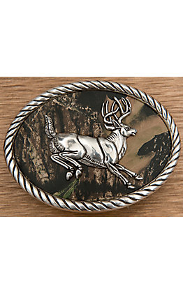 M&F Western Products Camouflage Leaping Buck Oval Buckle