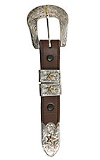 Bar V Ranch by Vogt Silver with Bronze Stars and Longhorn Buckle Set