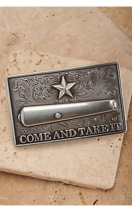 Nocona Silver Come and Take It Canon Rectangle Belt Buckle