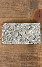Nocona Silver Scroll with Rhinestones Rectangle Buckle