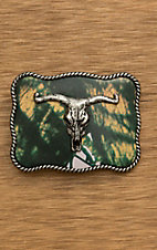Nocona Kids Pink Camo with Silver Longhorn Skull Rectangular Belt Buckle