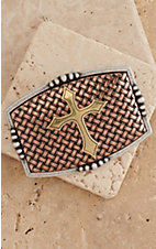 Nocona Copper Basket Weave with Gold Cross Fashion Belt Buckle