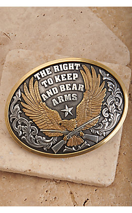 Nocona Silver and Gold Right To Keep and Bear Arms Eagle Oval Belt Buckle