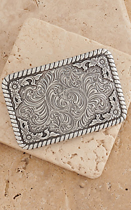 Nocona Silver Western Floral Filigree with Rope Edge Rectangular Buckle