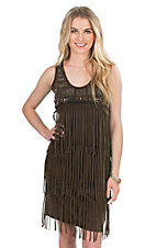 Anne French Women's Brown Mineral Wash with Fringe and Studs Sleeveless Dress