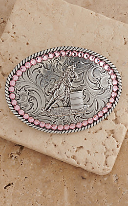 M&F Western Products Pink Crystal Barrell Racer Childrens Buckle