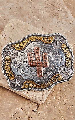 M&F Western Silver and Gold with Copper Cactus Rectangle Belt Buckle