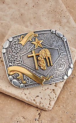 M&F Western Silver with Gold Cowboy Prayer Rectangular Belt Buckle
