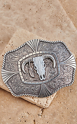 M&F Western Silver with White Skull Rectangle Belt Buckle