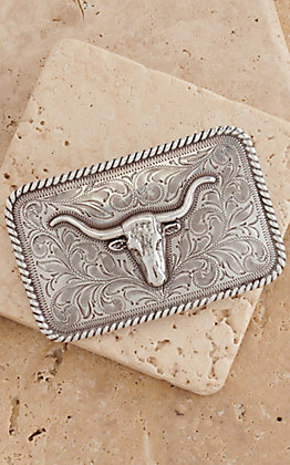 Nocona Silver with Longhorn Rope Edge Rectangular Buckle