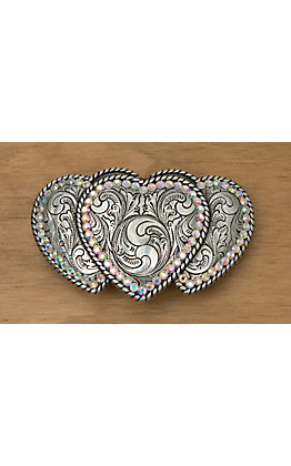 M&F Western Products Triple Heart Buckle with Rhinestones