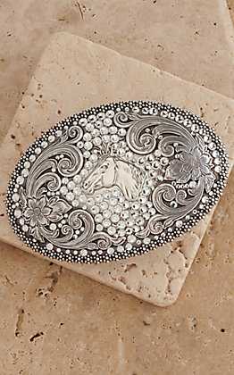 Nocona Women's Oval Horse Head with Rhinestones Buckle