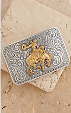 M&F Western Products  Silver Buckle with Gold Bucking Bronco