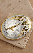 M&F Western Products Large Oval Boxed Gold Longhorn Silver Buckle