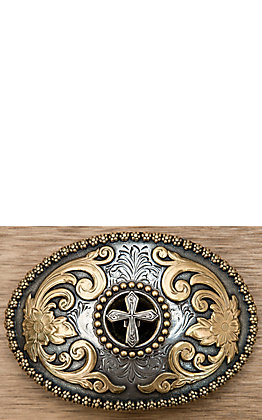 M&F Western Products  Antique Silver & Gold Cross Buckle
