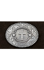 M&F Western Products Silver Oval with Cross and Rhinestones Belt Buckle