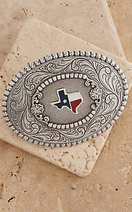 Nocona Silver Texas Western Filigree Oval Buckle