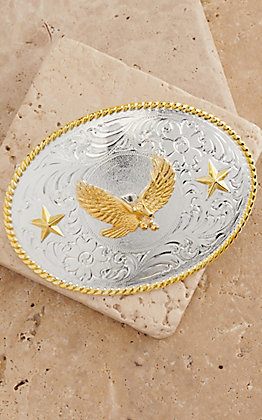 M&F Western Products Silver Buckle with Gold Soaring Eagle