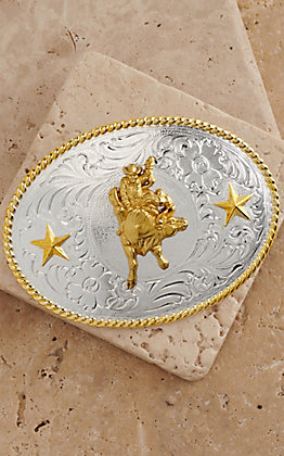 M&F Western Products Silver Buckle with Gold Bull Rider 3757041