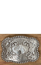 Nocona Antiqued Silver with Horsehead Berry Edge Rectangle Buckle
