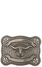 M&F Western Products Flower Berry Edge Rectanglular Longhorn Buckle