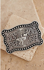 Nocona Silver with Bull Rider Rope Edge Rectangular Buckle