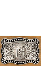 Nocona Silver with Praying Cowboy, Horse, and Cross Rope Edge Rectangular Buckle